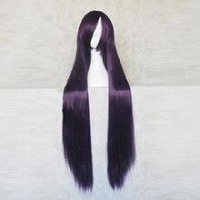Super danganronpa 2 mikan tsumiki roxo preto 100cm longo cosplay traje peruca + peruca livre