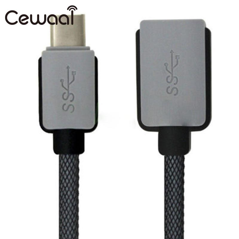 CEWAAL USB-C 3.1 Type C Male to USB 3.0 Female Adapter OTG Data Sync Charge Short Cable M/F Wire Line Converter Connecter cy u2 283 1 0m left right 90 degree angled usb 2 0 male to female extension cable black 1m