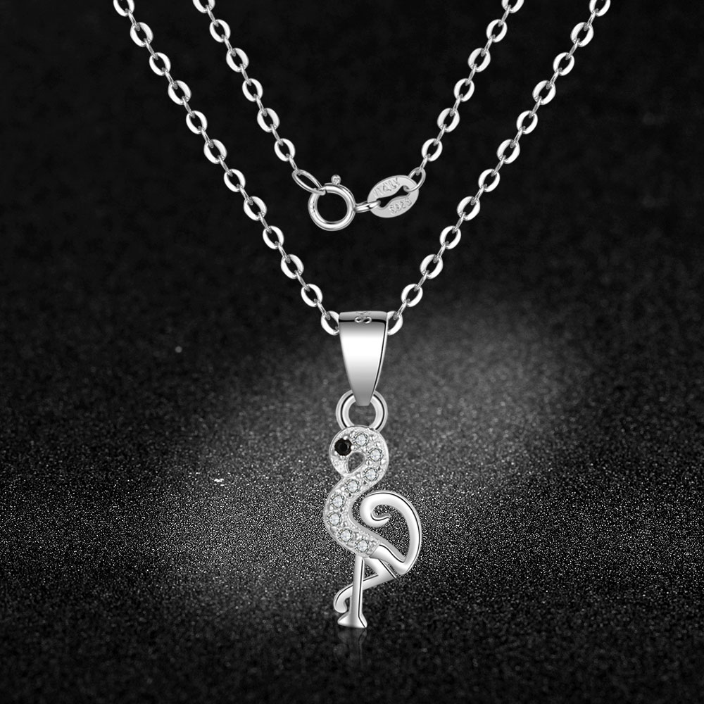 Silver Colors Crystal CZ Zircon Jewelry Charm Necklaces Choker flamingo Pendants For Women Ladies Girl Lover Gifts Wholsale in Pendant Necklaces from Jewelry Accessories