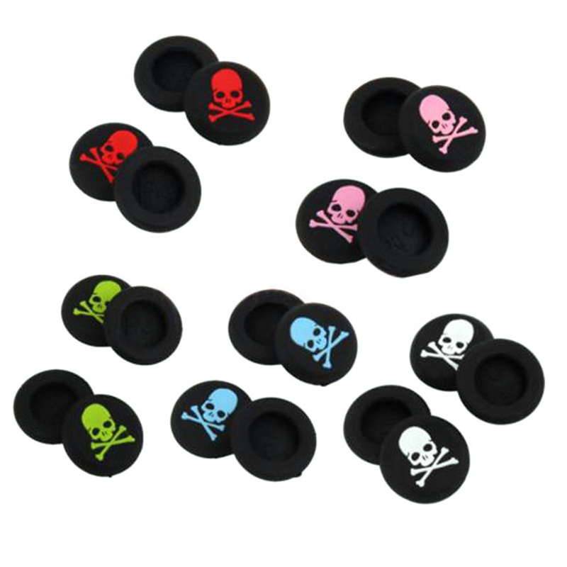 100pcs/lot Skull Head Thumb Stick joystick silicone Cap For Playstation 4 PS4 PS3 Analog Grip For Xbox one Xbox360 Controller