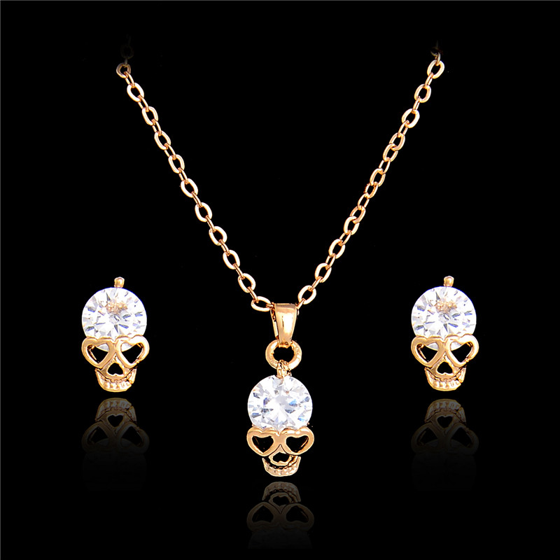 H:HYDE New Fashion Gold color Skull Women Jewelry Sets Crystal Earrings Pendant Necklace Set Wholesale bijoux joyeria