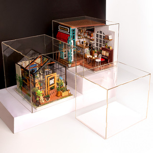 Image 1 - Robotime שקוף אבק כיסוי תצוגת תיבת עבור בית בובות 3mm עובי אקריליק לוח עבור להראות חדר מניעת אבק הוכחה DG01Z