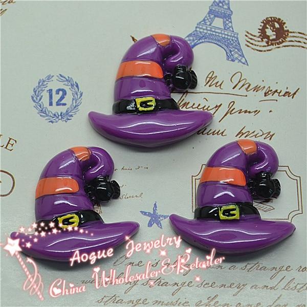 10pcs/lot 28*26mm Resin Flatback Halloween Applique Miniatures|Resin Witch Hat Cabochon|Halloween Party DIY Decorations
