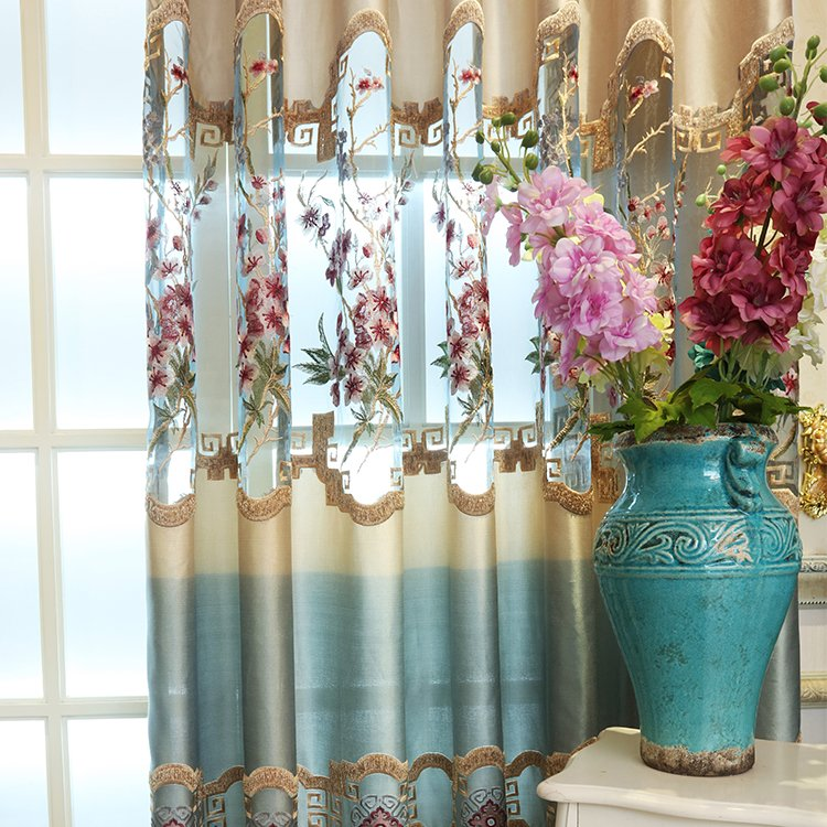 1 PC Luxury Europe Blue Royal Luxury Embroidered tulle for Bedroom Window Curtains for Living Room Elegant Blinds Drapes