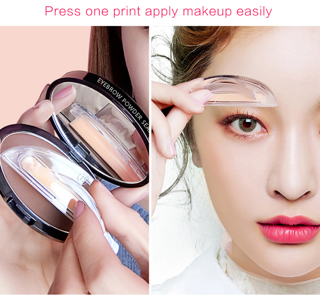 1pair Eyebrow Template Stamp Sponge Eyebrows Seal Eyebrow Powder Brow Stamp Sponge Eye Brow Lazy Puff Printed Seal Cream Beauty Essentials