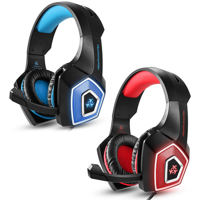 ce68b946798 Hunterspider V-1 3.5mm Wired Led Gaming Headsets Over Ear Headphones Noise  Canceling Earphone with Microphone