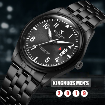 Black Steel Watches Men 2019 High Quality Functional Date Waterproof Quartz Wristwatches Black Brown Leather Sports Watches Man
