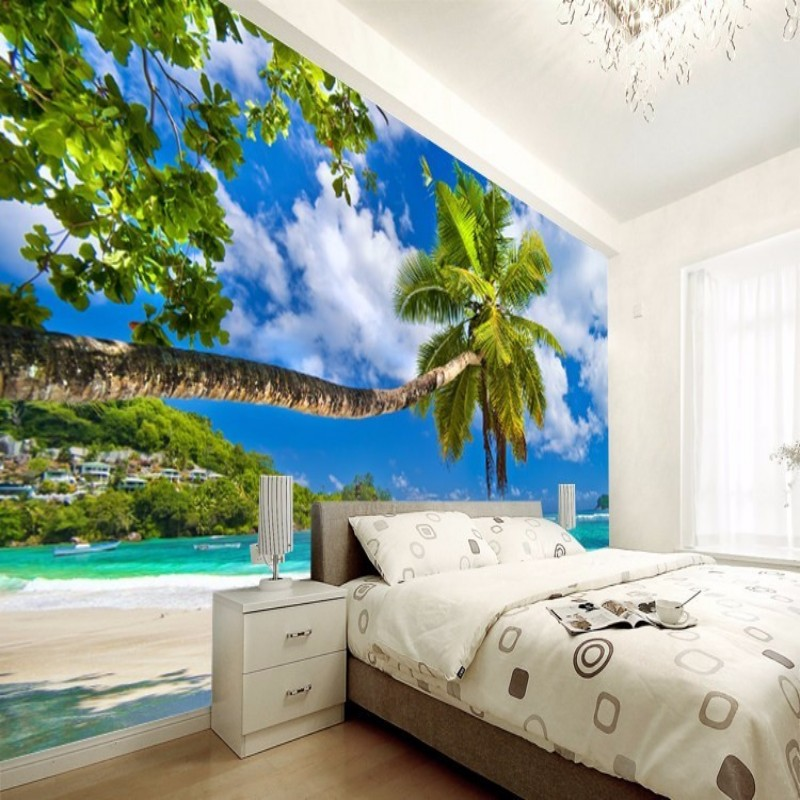 Popular 3 d wallpapers buy cheap 3 d wallpapers lots from for Beach scene mural wallpaper