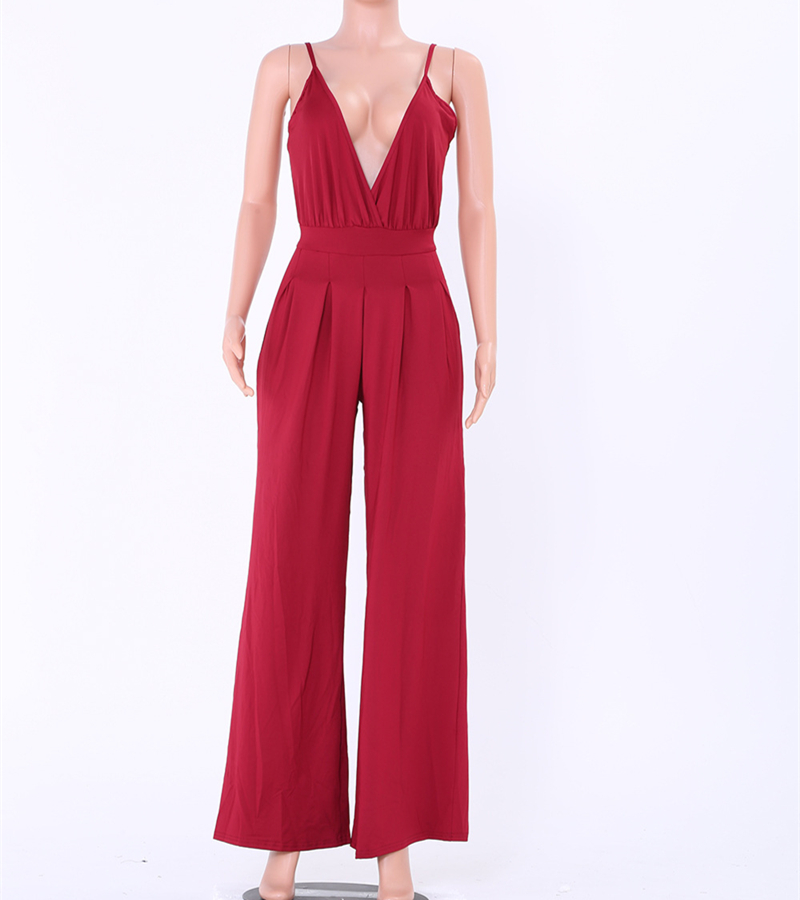 sexy deep v-neck off shoulder overalls rompers womens jumpsuit plus size summer 2018 one piece pants monos largos de mujer 2200 1