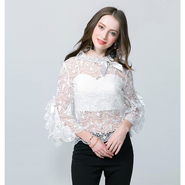 ce1fe041732 HIGH QUALITY New Fashion 2018 Designer Blouse Tops Women's Flare Sleeve Bow  Hollow Out Lace Blouse Shirt