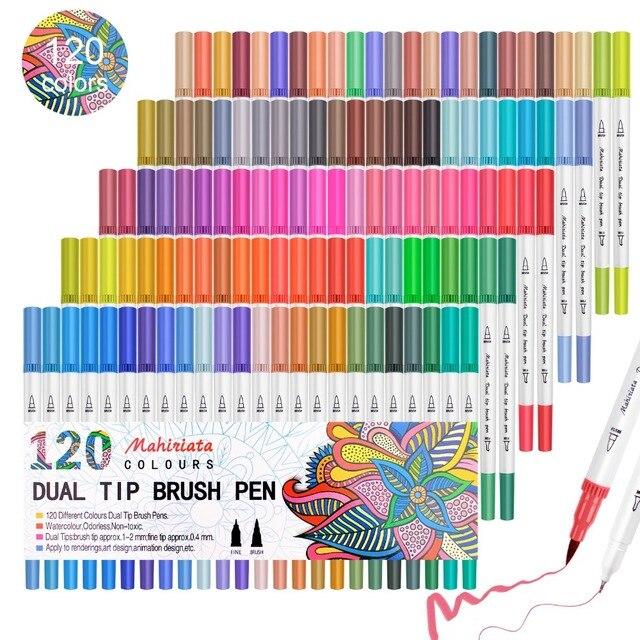 الوان تاتش فايف 60/72/100/120 قلم تلوين مزدوج الالوان المائية لوازم الفن قلم قابل للغسل للرسم قلم الرسم