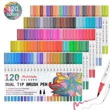 Touchfive 60/72/100/120 kolory podwójny pędzel końcówki markery akwarela długopis dostaw sztuki zmywalny długopis do rysowania malarstwo Skech Pen