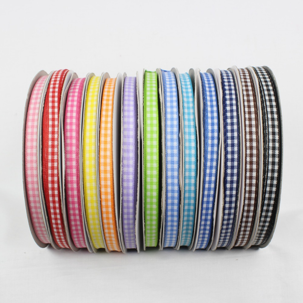 GZ6MM, cotton plaid ribbon 6mm, <font><b>50</b></font> yards, DIY handmade materials, clothing accessories headdress accessories image