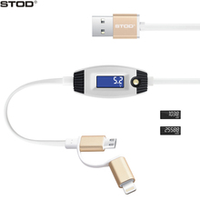 BTOD 2 In 1 USB Data Cable Micro USB&8 Pin LED Display Smart Charging Protection For Cellphone Powerbank Charger Tester Line