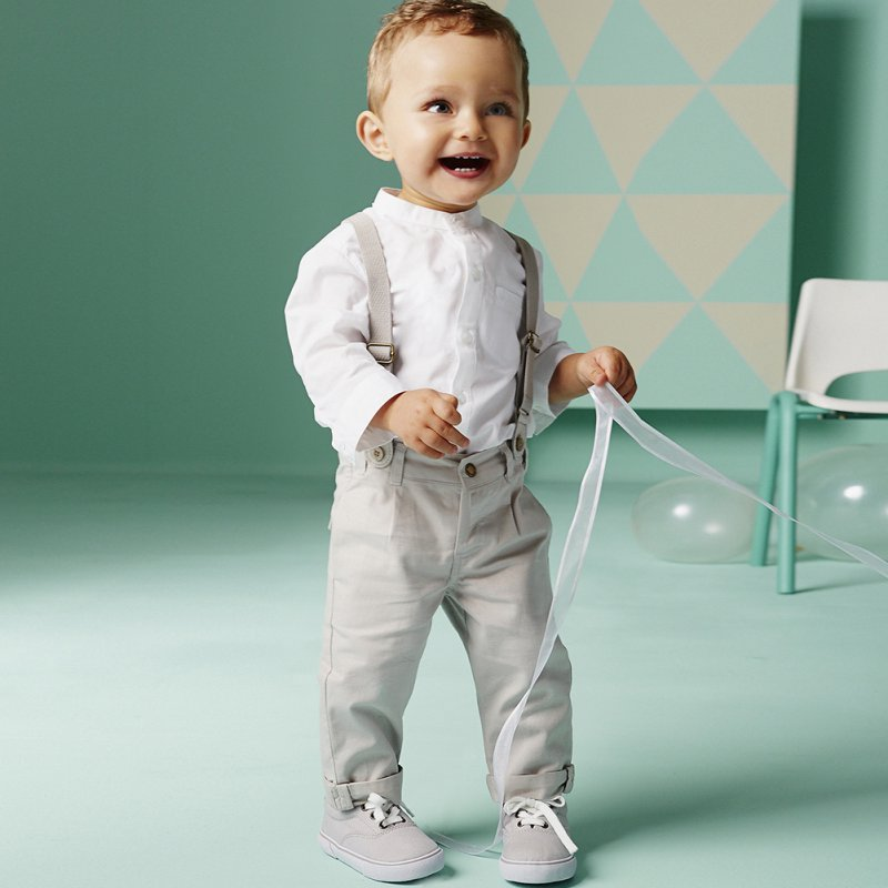 Boy Baby Kid 2Pcs White T shirt Top Bib Pants Overall Set Outfit Cloth 2 6Y New Arrival in Clothing Sets from Mother Kids