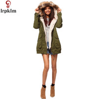 2016 Retro Thick Womens Winter Jackets Army Green Fur Hooded Parka Coat Thick Removable Berber Fleece