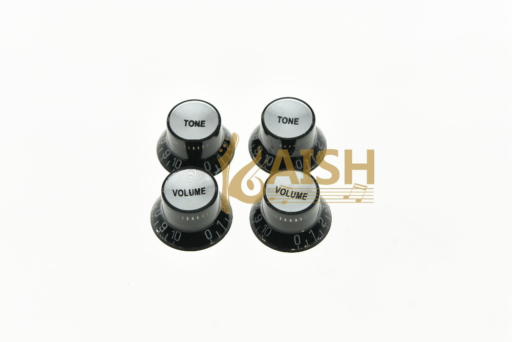 KAISH 4x Black w/ Silver Guitar Top Hat Knobs Reflector Knobs for Epiphone LP SG kaish black p90 high power sound neck