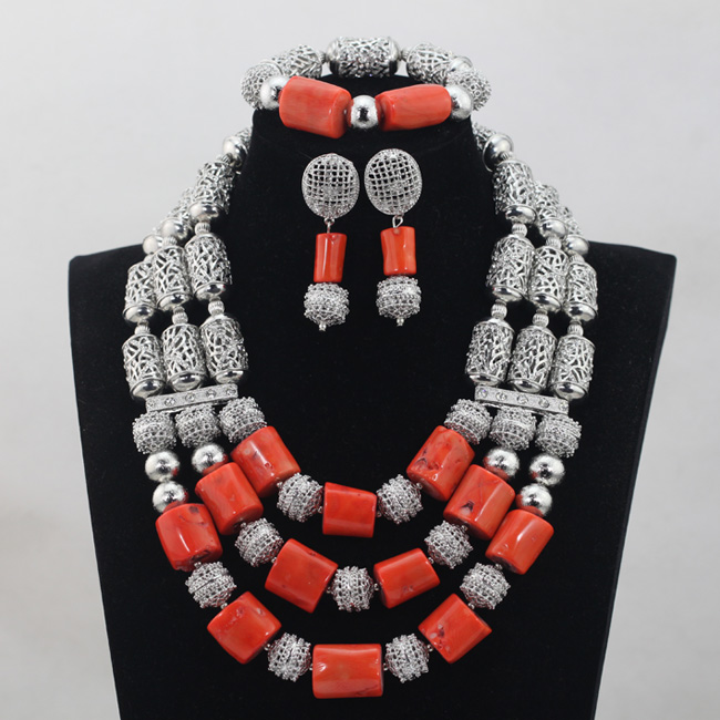 Fashion Silver Plated Occassion Quality Real Coral Beads Bridal African Jewelry Sets Vintage Party Jewelry Free ShippingABH040Fashion Silver Plated Occassion Quality Real Coral Beads Bridal African Jewelry Sets Vintage Party Jewelry Free ShippingABH040