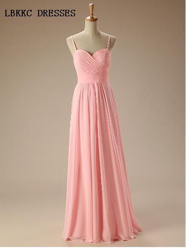 Spaghetti Straps Bridesmaid Dresses Pink Long Chiffon Gown Cheap ...