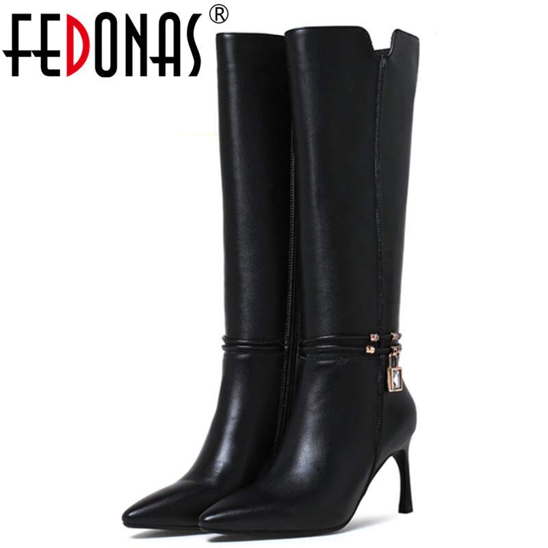 FEDONAS Brand Cow Leather Knee High Boots Genuine Leather Winter Warm Snow Boots Women Sexy Thin Heels Knight Boots Shoes Woman yin qi shi man winter outdoor shoes hiking camping trip high top hiking boots cow leather durable female plush warm outdoor boot