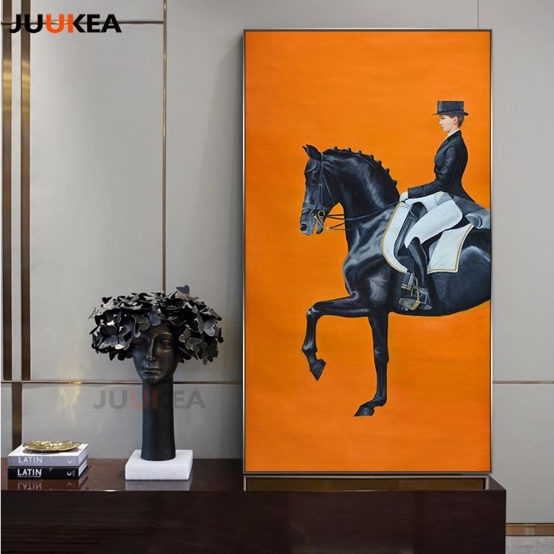 Orange Horse Racing Canvas Print