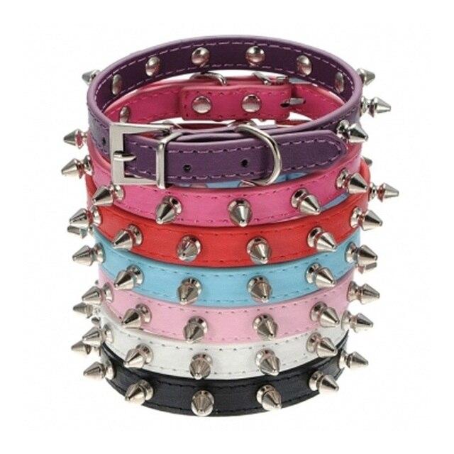 4 colori Cane Al Guinzaglio Strap Spiked Studded Collari In Pelle dell'unità di