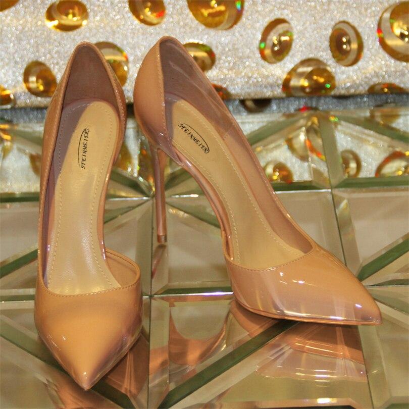 steinmeier Жінки високі каблуки лакованих шкіряних насосів сексуальний 10 см тонка каблук однієї точки пальця ноги великий розмір весілля жінки каблуки взуття