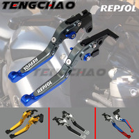 For HONDA CBR1000RR 2004 2007, CB1000R 2008 2014 Motorcycle Adjustable Folding Extendable Brake Clutch Levers logo REPSOL