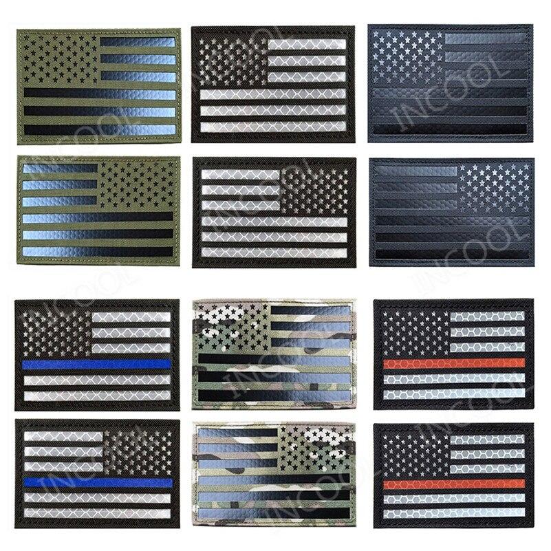 Drapeau américain réfléchissant en PVC états-unis USA drapeaux US patchs IR Patch militaire tactique moral en caoutchouc