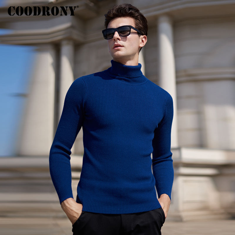 COODRONY Pullover Men Sweaters Winter Turtleneck Cashmere Wool Homme Thick Warm Soft
