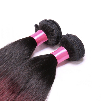 Ombre Brazilian Straight Hair Weave Bundles 1B 99J Burgundy Two Tone Human Hair Bundles Non Remy 3 Bundles Hair Extension 1