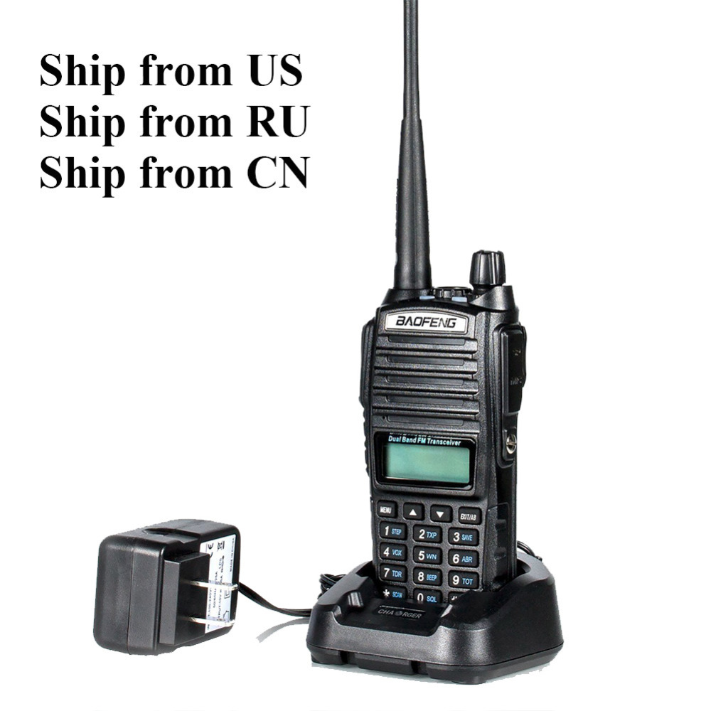 Schiffe von RU/US/CN! schwarz BaoFeng UV-82 Walkie Talkie 5 Watt 10 km 136-174 MHz & 400-520 MHz Two Way Radio Baofeng uv82 Ham Radio
