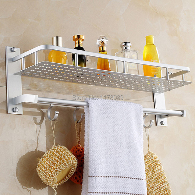 Bathroom Wall Mounted E Aluminum Shelves Single Tier Shower Towel Shelf With Hooks Free Shipping J16527