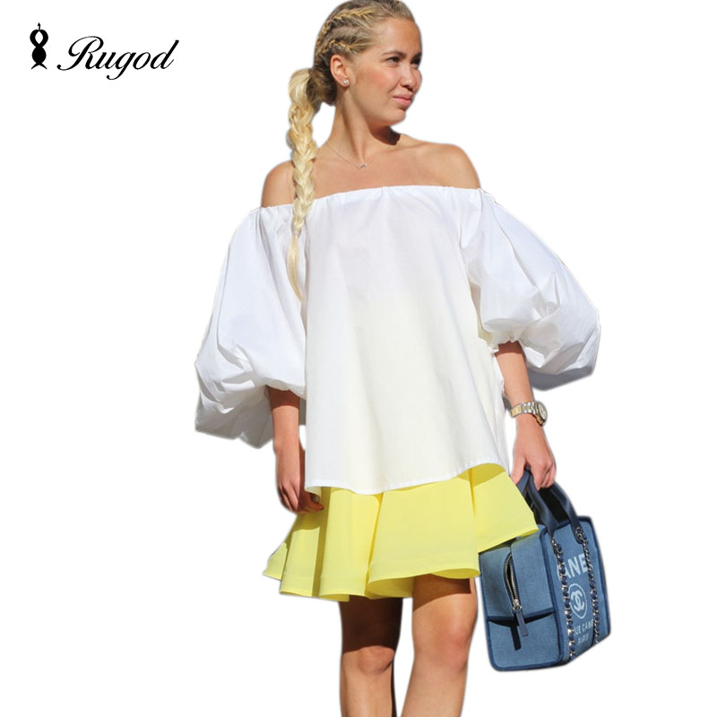 RUGOD New 2020 Summer Style Woman Sexy Off Shoulder Vintage Puff Sleeve Plus Size Tops Blusas Fashion Mujer Top Quality Pullover