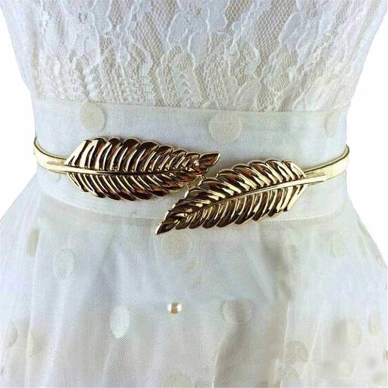 new ikat pinggang wanita mode logam daun joker belt cummerbunds sabuk elastis kasual gaun