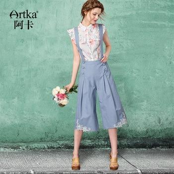 ARTKA 2018 Summer& Summer Lace embroidery strap Floral Tallie Denim Vintage Wide Leg Short Pants KA10671X 1