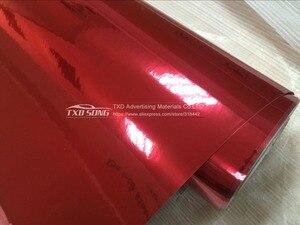 Image 4 - Najnowszy wysoki rozciągliwy wodoodporny UV chroniony czerwony chromowana lustrzana folia winylowa rolka arkusza Film samochód naklejka arkusz