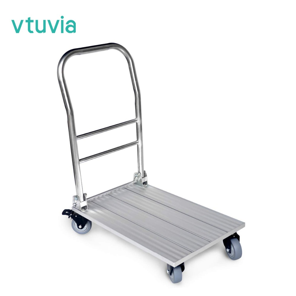 82ebdd07304e US $129.99 |Vtuvia Flatbed Push Moving Cart 660 lbs Folding Aluminum Hand  Truck Luggage Trolley Cart with Secure Brakes Platform Cart 28