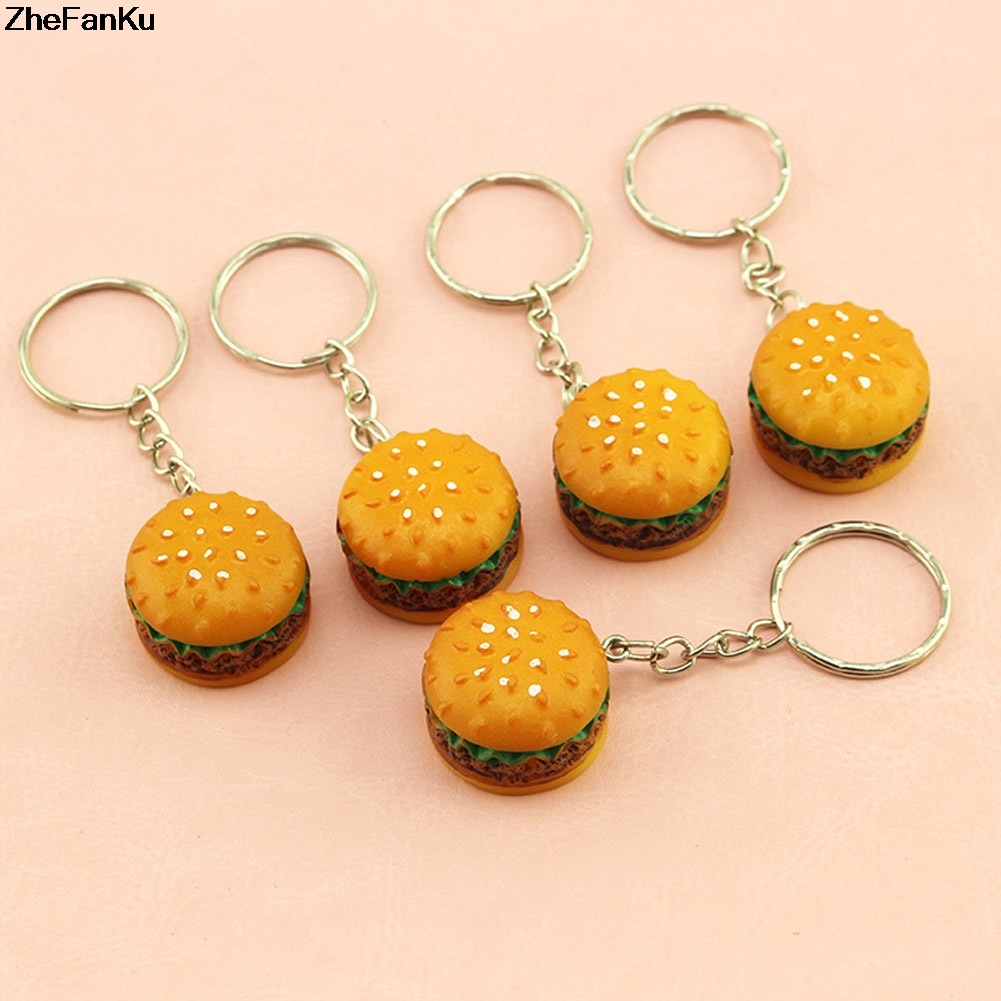 Novelty Key Chain Christmas Birthday Gift Cute Hamburger Keychain Simulation Food Hamburger Pendant Key Ring