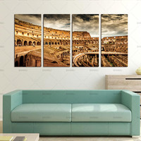 4 Piece Modern Wall Canvas Painting Rome Colosseum Building Home Decorative Art Picture Paint On Canvas