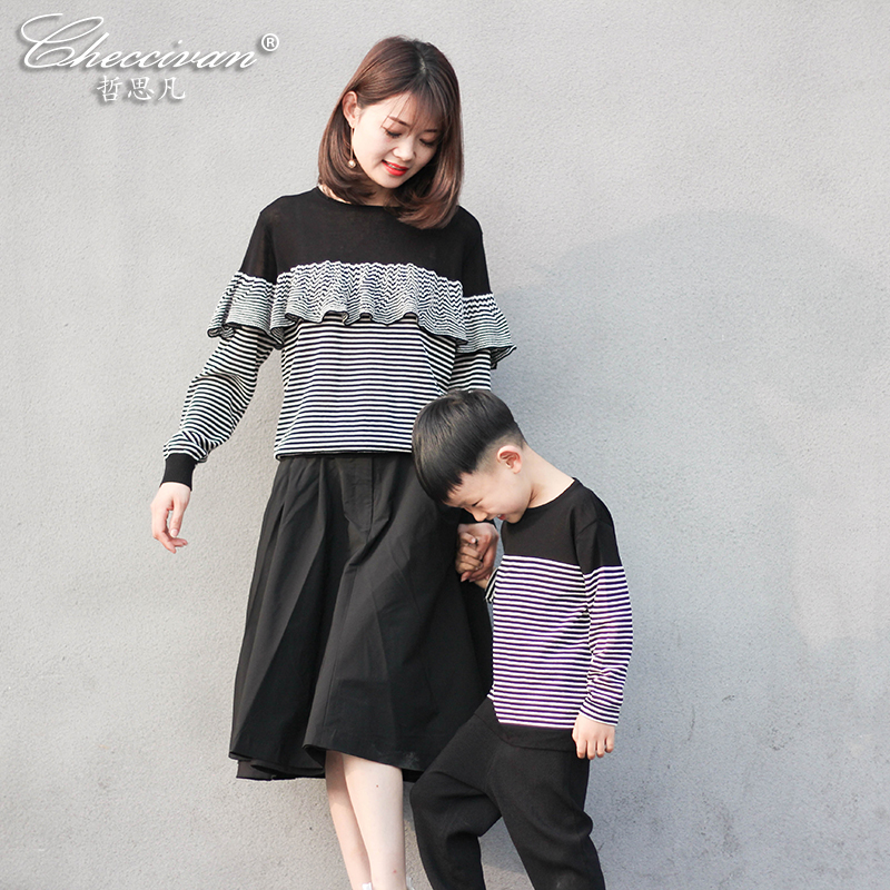Checcivan Family Fashion 2017 Mother&CKids Clothes Mom and Daughter Sweater Toddlers Soft Knitting Tops Boys Elastic Stripe Tops checcivan family summer t shirts mother