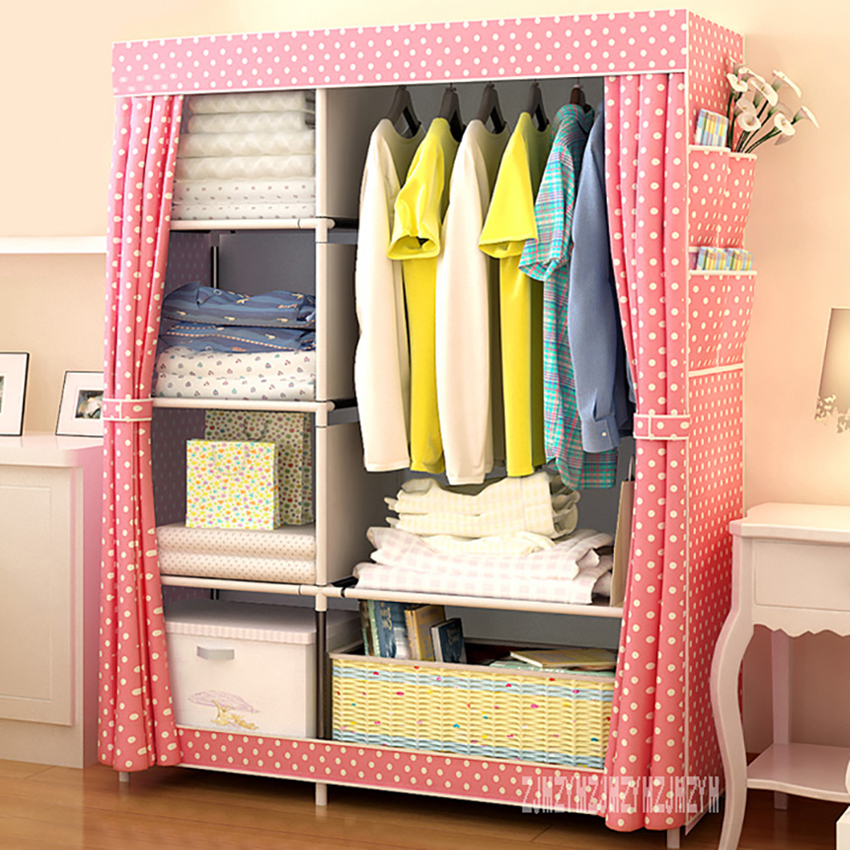 XK001 Cloth Closet Modern Wardrobe Thickened Storage Cabinet Non-Woven Fabrics Cloth Garderobe Simplicity Foldable Steel Pipe