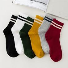5Pairs Lot Unisex Two Stripes Skate Socks For Men Fashion Cotton Sock Girls Classic Retro Old