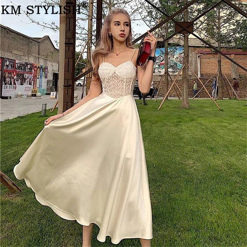 2019 femmes nouveau français Vintage Court robe broderie dentelle couture Satin lumière abricot fronde une-pièce robe