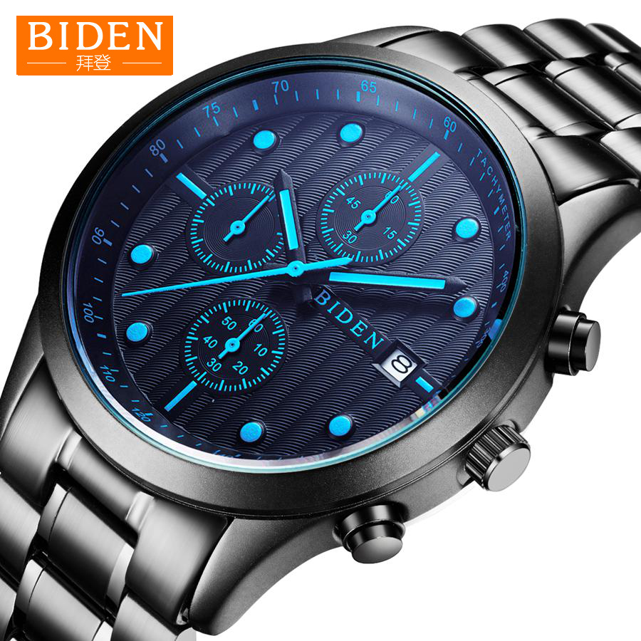 Watch Men BIDEN Top Brand Luxury Stainless Steel Date Clock Male Quartz Sports Watch Mens Wrist Watch Drop Shipping mens luxury sports stainless steel digital led military date quartz wrist watch