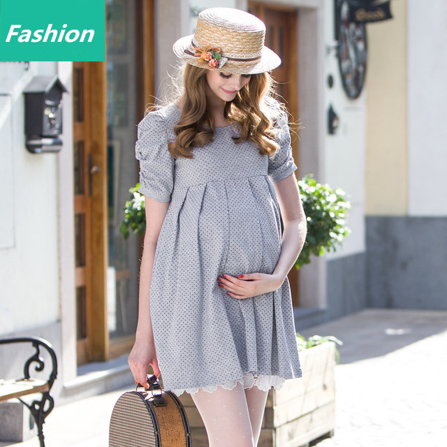 New Maternity Dresses Pregnant Women Dress Summer Spring Cotton High Waist Pregnancy Good Quality