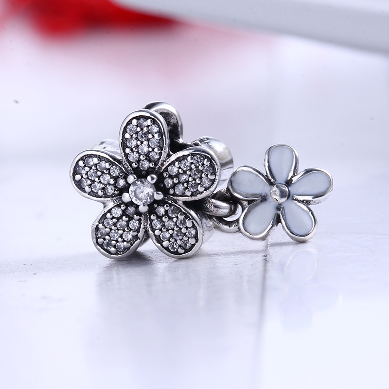 100% 925 Sterling Silver Fit Original Pandora Bracelet Dazzling Daisy Duo Pendant Pave Clear CZ Charms Beads for Jewelry Making