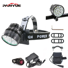 PANYUE LED Headlamp 9000LM Powerful Head Front light for bike 2 in 1 Function 9*T6 3 Mode Rechargeable Torch flashlight Set