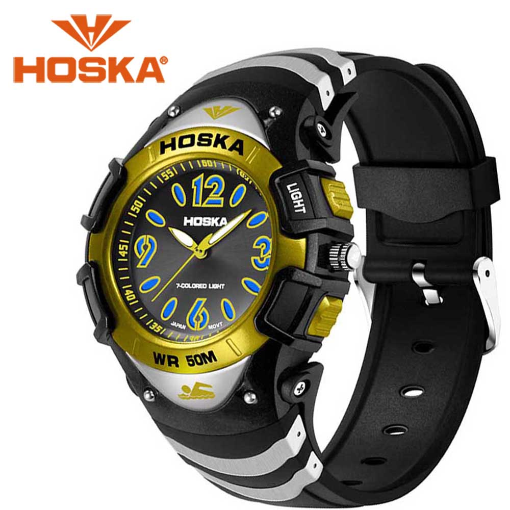 Brand HOSKA student men's watches Quartz watch boys sport outdoor waterproof relogio masculino Quartz-watch skullies