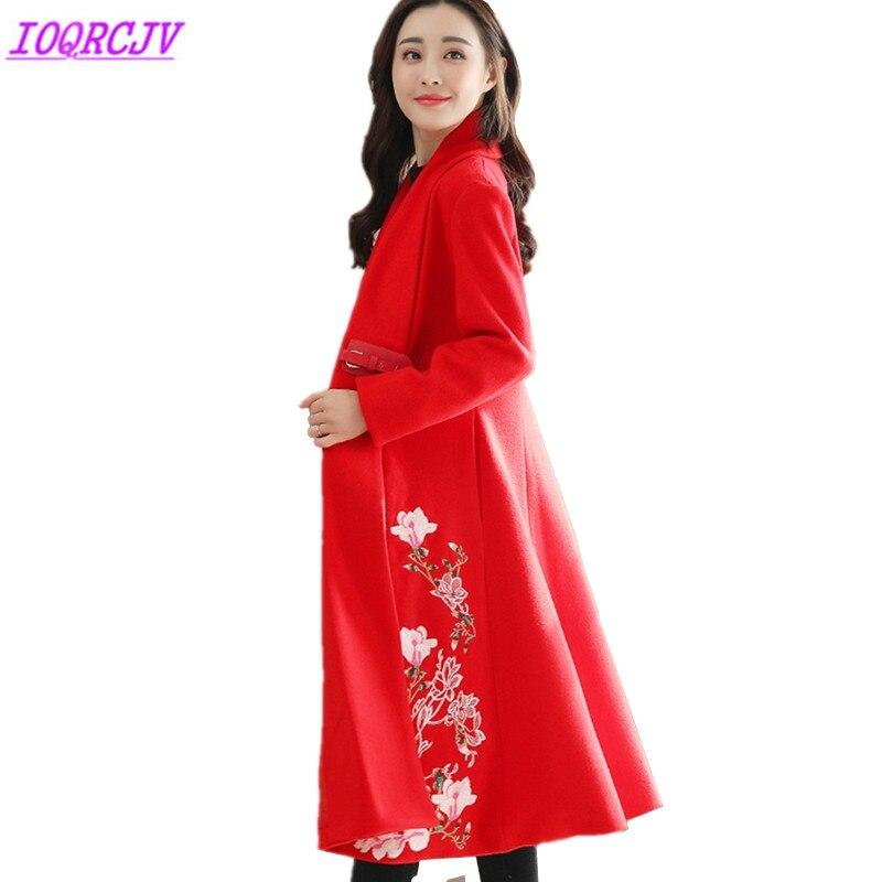2018 Autumn Winter Women Woolen Jacket Coat Fashion Boutique Embroidery Woolen cloth Outerwear Plus size Loose Coat IOQRCJV Q138